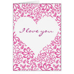 Pink heart with flowers Greeting Card Cards