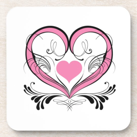 Pink Heart with ornaments Coaster