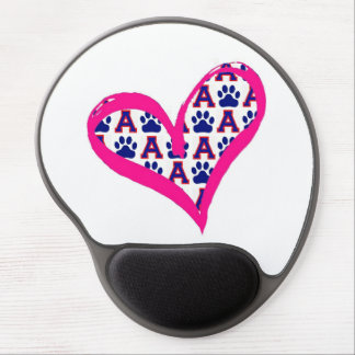Pink Heart with paws and A's Gel Mouse Pad