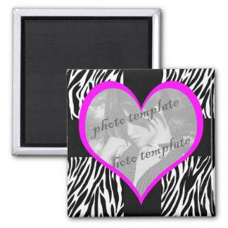 Pink Heart Zebra Print Birthday Magnet