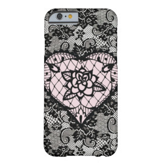 (pink hearted lace) barely there iPhone 6 case