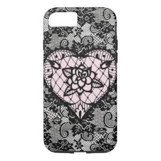(pink hearted lace) iPhone 8/7 case