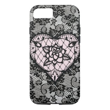 Aztec Themed (pink hearted lace) iPhone 8/7 case