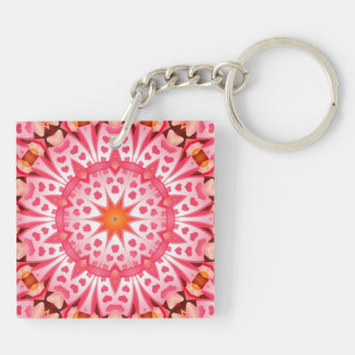 Pink hearth pattern Double-Sided square acrylic keychain
