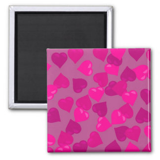 Pink Hearts 2 Inch Square Magnet