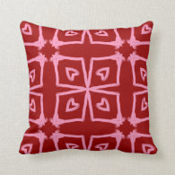 Pink Hearts Abstract Pattern On Red Throw Pillow