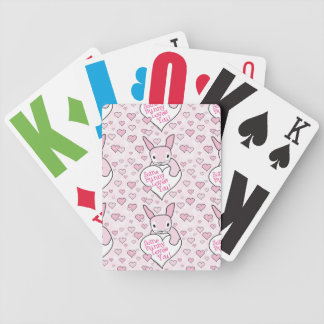Pink Hearts and Bunny Love Bicycle Playing Cards