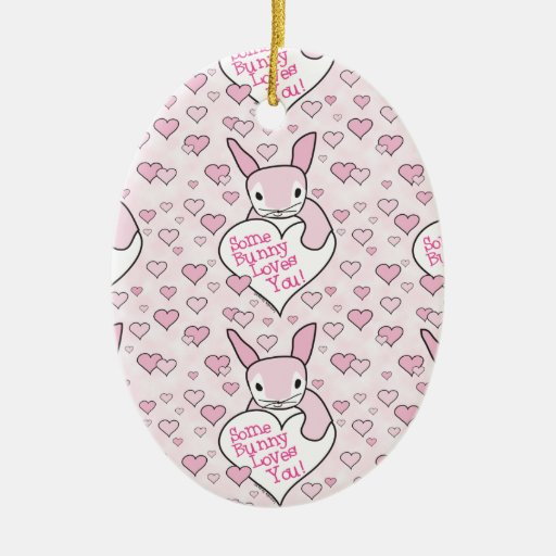 Pink Hearts and Bunny Love Ceramic Ornament