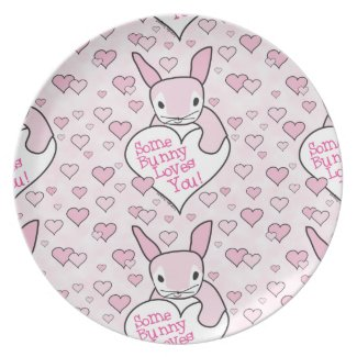 Pink Hearts and Bunny Love Dinner Plate