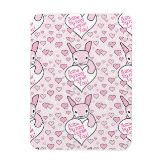 Pink Hearts and Bunny Love Flexible Magnet