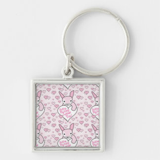 Pink Hearts and Bunny Love Key Chains