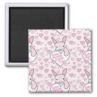 Pink Hearts and Bunny Love Refrigerator Magnets