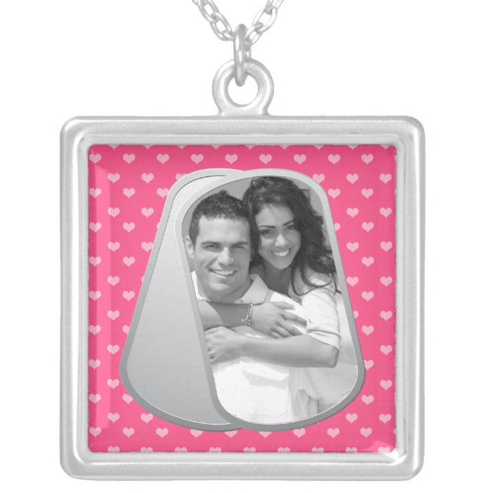 Pink Hearts and Customizable Photo Dog Tags Silver Plated Necklace