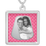 Pink Hearts and Customizable Photo Dog Tags Square Pendant Necklace