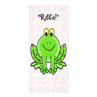 Pink Hearts and Frog Childrens Valentines Cards Rack Card Design