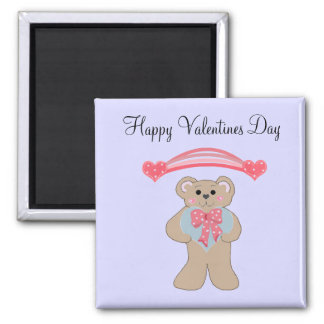 Pink Hearts and Little Bear 2 Inch Square Magnet