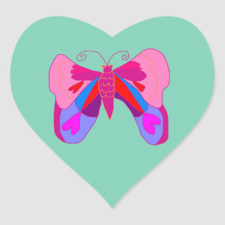 Pink Hearts and Love Valentine's Butterfly Heart Sticker