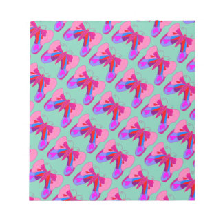 Pink Hearts and Love Valentine's Butterfly Notepad