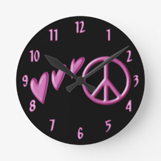 Pink hearts and peace sign wall clock. round clock