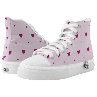 Pink Hearts and Polka Dots Hi Tops