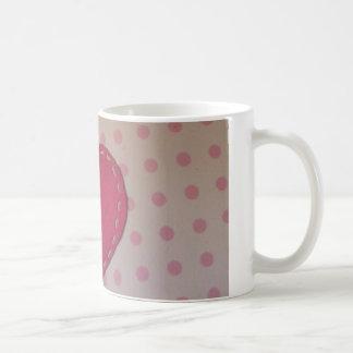 pink hearts and polka dots white mug