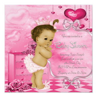 Pink Hearts and Roses African American Baby Shower Card