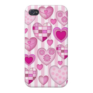 Pink Hearts and Stripes Covers For iPhone 4