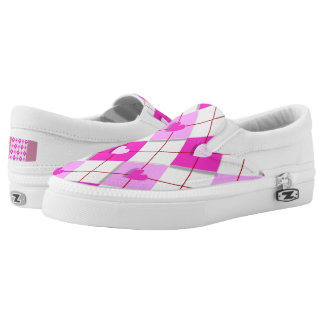 Pink Hearts Argyle Slip-On Sneakers