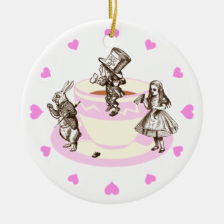 Pink Hearts Around a Mad Tea Party Ceramic Ornament