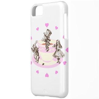 Pink Hearts Around a Mad Tea Party Cover For iPhone 5C