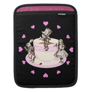 Pink Hearts Around a Mad Tea Party iPad Sleeve