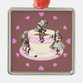 Pink Hearts Around a Mad Tea Party Metal Ornament