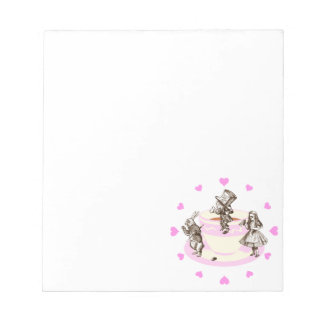 Pink Hearts Around a Mad Tea Party Notepad