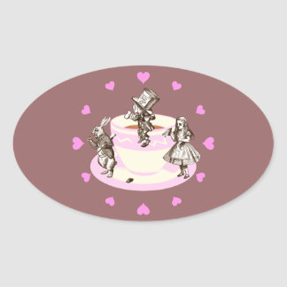 Pink Hearts Around a Mad Tea Party Oval Sticker