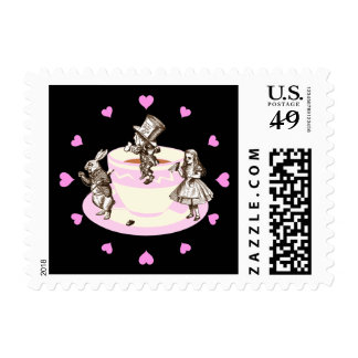 Pink Hearts Around a Mad Tea Party Postage Stamp