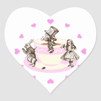 Pink Hearts Around a Mad Tea Party Sticker