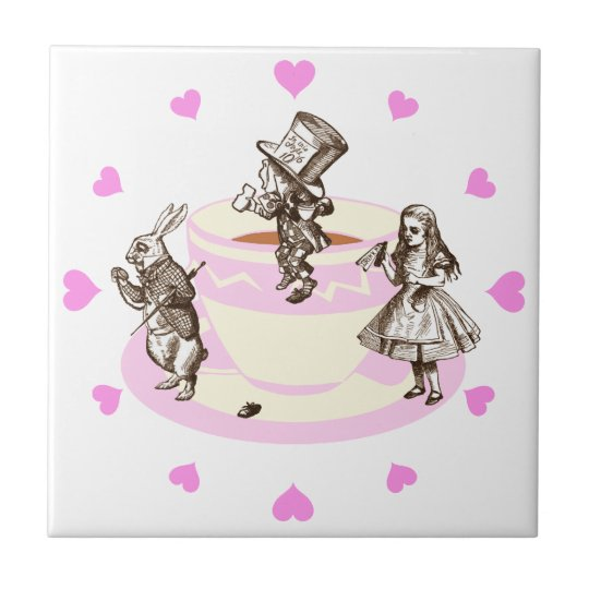 Pink Hearts Around a Mad Tea Party Tile