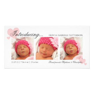 Pink Hearts Baby Girl Photo Birth Announcement
