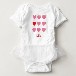 Pink Hearts Baby Tutu Bodysuit