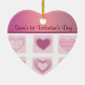 Pink Hearts Babys First Valentines Day Photo Ceramic Ornament