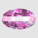 Pink Hearts Balloons Customizable Oval Stickers