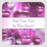 Pink Hearts Balloons Customizable Square Stickers