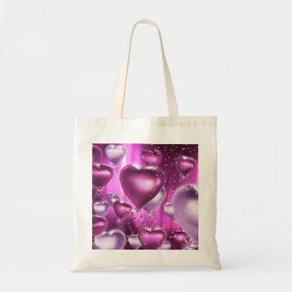 Pink Hearts Balloons Customizable Tote Bags