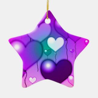 Pink Hearts Balloons Design Ceramic Ornament