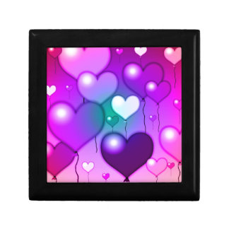 Pink Hearts Balloons Design Jewelry Box