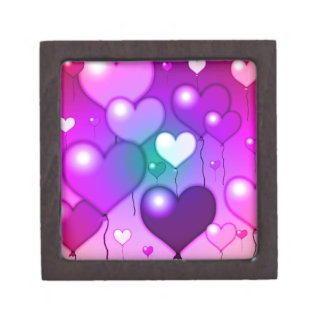 Pink Hearts Balloons Design Premium Gift Boxes