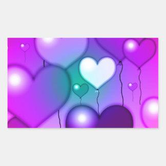 Pink Hearts Balloons Design Rectangular Sticker