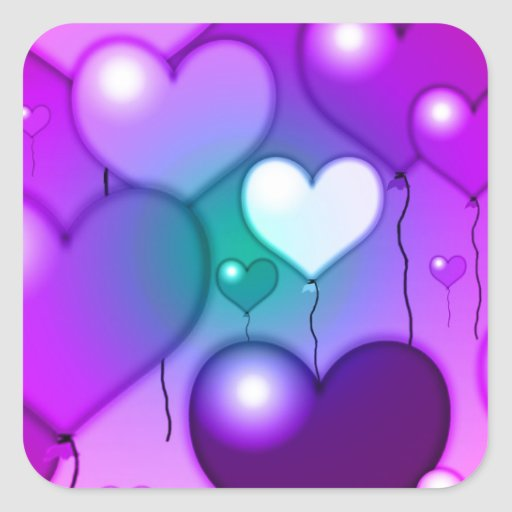 Pink Hearts Balloons Design Square Sticker