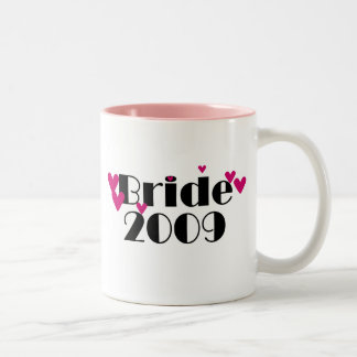 Pink Hearts Bride 2009 Two-Tone Coffee Mug