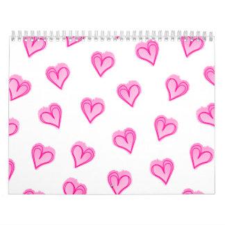Pink hearts calendar